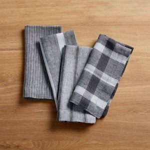 NEW Crate & Barrel Suits Linen Napkin set of 4